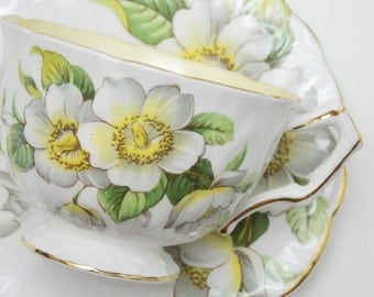 Aynsley Large White Dogwood Flowers Yellow Vintage Tea Cup and Saucer Fine Bone China Made in England 86