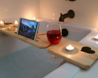 Bath Tub Tray- Vinyl / Sliver Woodworking / Bathroom Accessories / Valentines / Relaxing / Spa / Candles / Gifts for Her / Mothers Day / Mom