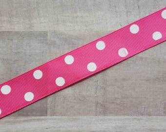 """7/8"""" Ribbon by the Yard - Shocking Pink White Dot"""