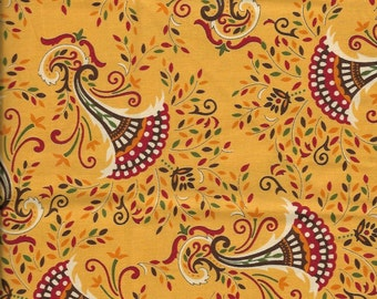 New Multi Color Autumn Leaves on Yellow 100% cotton fabric by the Fat Quarter