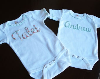 Twin  Name Shirts, Personalized Baby Clothes, Fraternal Twins Matching Outfits, Custom Baby Shower Gift, , Unique Baby Clothes, Bodysuit