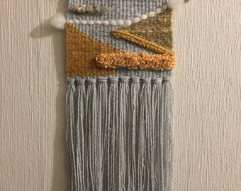 Woven wall tapestry - goldenrod and grey