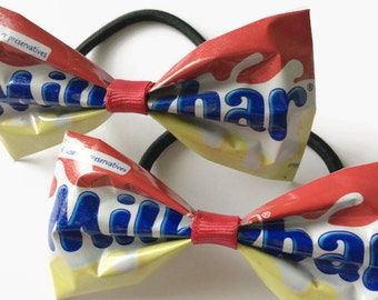 Set of 2 Recycled Hair Bows, Yellow and Red Chocolate Wrappers
