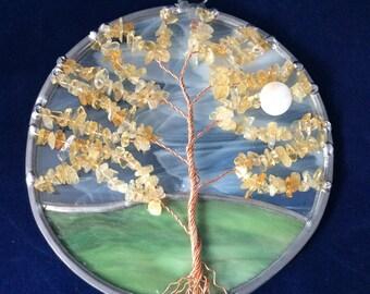 Citrine tree of life suncatcher