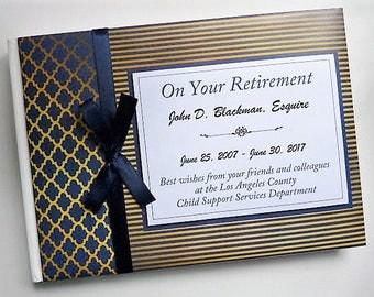 Personalised Blue & Gold Retirement/Wedding/Occassion Guest Book