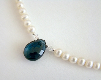 London Blue Necklace, London Blue Topaz Pearl Necklace, Blue Topaz White Pearl Silver Necklace, Bridal Jewelry