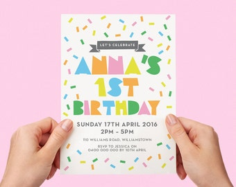 Sprinkles Kids Party Invite First birthday Baby Girl Invite Baby Boy Toddler Pastels 1st 2nd 3rd 4th 5th