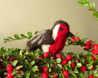 christmas robin, christmas decoration, robin red breast, tree ornament, holiday decoration, needle felt bird, bird ornament, robin ornament