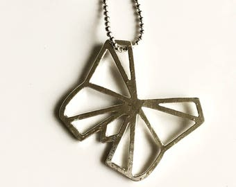 Necklace | silver origami butterfly long chain