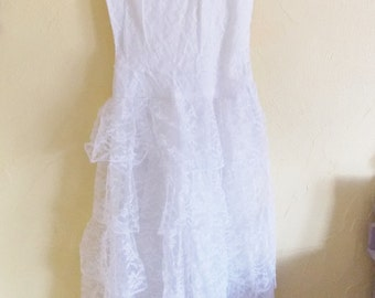 "Now 25% Off! Vintage 1950''s  Small Size 30"" Bust White Lace Over Taffeta Party Dress With 5-Tier Skirt- Prom is Coming!"