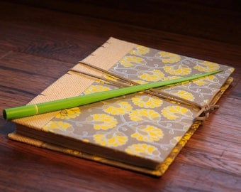 Yellow Floral Coptic Stitch/Journal/Sketchbook