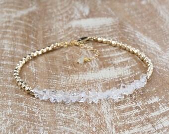 Diamond Bracelet/Herkimer Diamond Bracelet/Raw Herkimer Diamond Bracelet/Natiral Herkimer diamond bracelet/April Birthstone