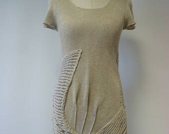 Boho Summer natural top, M size. Made of pure linen, only one sample.