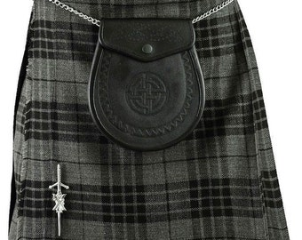 New Mens Black Grey Highland GREY Scottish Kilt