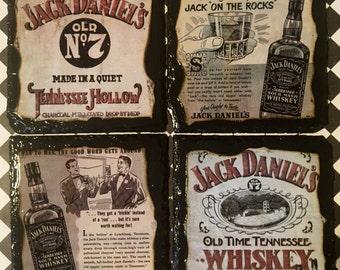 Jack Daniels slate coaster set