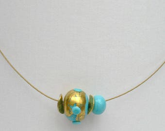 Necklace turquoise glass bead with 24 ct. Gold 50 cm