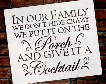 Crazy Family - Word Stencil - Select Size - STCL1823 - by StudioR12