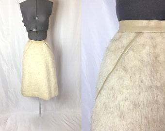 Medium ** 1960s FUR leather heavy skirt ** vintage sixties fur skirt