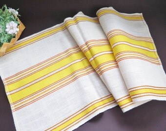 Vintage Swedish Woven Table Runner Yellow Striped Table Cloth, 145 x 50 cm / 57 x 19,6 inch, Scandinavian Home Decor #3-03