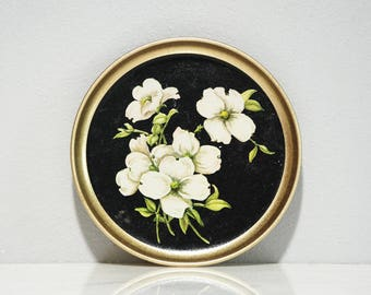Dogwood / Floral / Souvenir Tray / North Carolina / Virginia / 7-Inch Dish / White Flower / Black and Gold / Blooms / Vintage 1950s