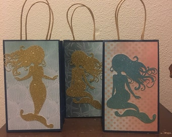 6 enchanted mermaid favor bags 5 x 8 inches mermaid loot bag treat bag
