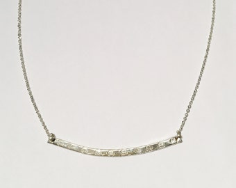 Silver Curve Bar Necklace