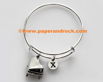 Piano initial bangle, piano jewelry, music bracelet, gift for pianist, piano teacher gift, music jewelry, recital jewelry