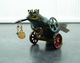 Steampunk Wood Humming Bird on Metal Wheels