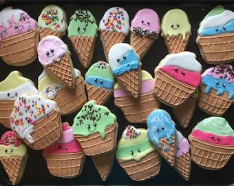 12  ICE CREAM  cone inspired vanilla sugar cookies - ice  cream social PARTY - beach party - summer - carnival - baby shower - birthd