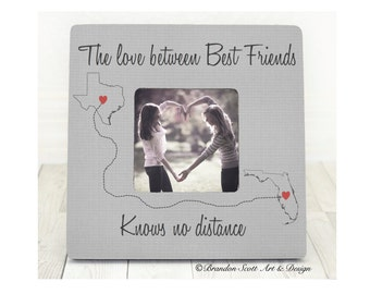 Best Friends Frame, Long Distance Best Friends, States Frame, Personalized Picture Frame, Best Friend Gift