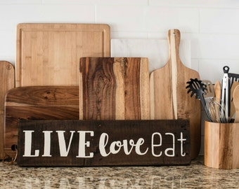 LIVE LOVE EAT Quote Salvaged Wood Pallet Sign, kitchen decor, quote wood, pallet wood art, country decor, country kitchen