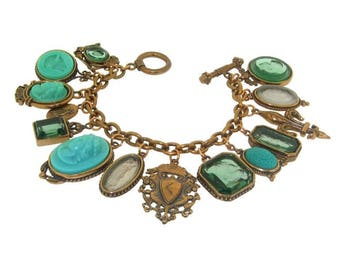 Extasia Cameo and Intaglio Turquoise Glass Charm Bracelet