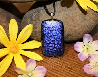 Handmade Glass Pendant - Fused Glass Necklace - Dichroic Glass Necklace- Blue - Purple