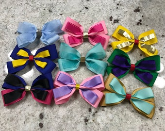 Disney Princess Inspired Hair Bows (6 PACK)