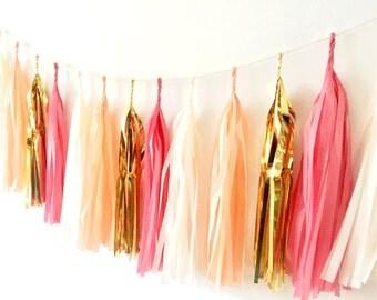 Tissue Tassel Garland - Island Blossom'  - nursery decor, wedding decor, wedding garland