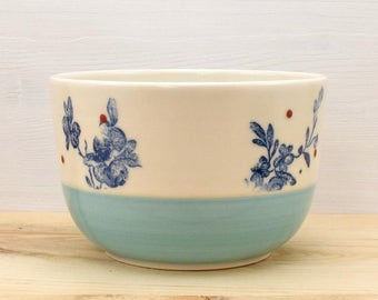 Turquoise - blue flowers and dots cereal Bowl