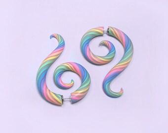 Pastel Rainbow Candy Stripe Faux Gauge Earrings