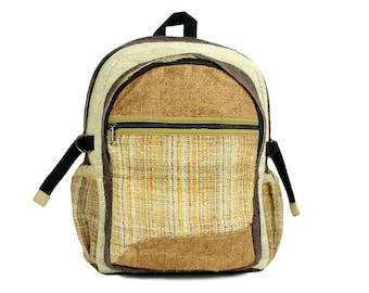 Back to school Hemp Backpack. Hemp bag very colorful. Alternative backpack, Naturalist Hippie school Bag.