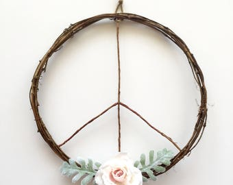 Peace Sign Wreath/Modern Wreath/Boho Wreath/Boho Chic Wreath/Boho Wall Hanging/Boho Art/Boho Decor/Peace Wreath/Boho Wedding/Rustic Wreath