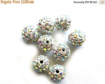 HALF PRICE 10 White Rainbow Rhinestone Disco Ball Beads 10mm