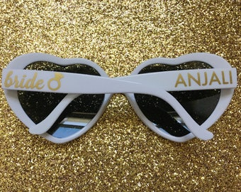 Personalized White Heart Shaped Sunglasses, Wedding Sunglasses, Bachelorette Sunglasses, Customized Sunglasses, Heart Sunglasses