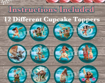 Instant Download - 12 Different Moana Cupcake Toppers / Moana tags / Moana Labels - a little over 2 1/4 inches - Directions Included