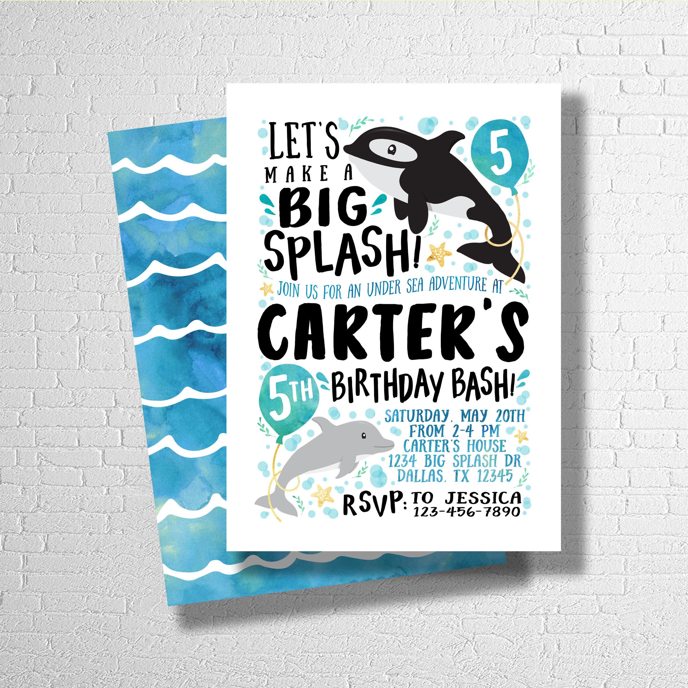 Whale Birthday Invitation | Under Sea Birthday Invite | Ocean ...