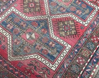 "3'5""x4'1"" Antique Persian Kazak Rug"