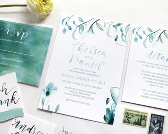 Teal Watercolor Floral Calligraphy / Wedding Invitation Suite / Brush Lettered / Modern / Printable Wedding Invitation / Save the Date