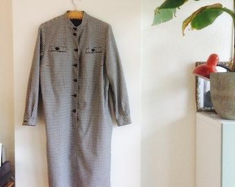 Shirtdress | vintage dress | blocked dress| size m/L DU | black and white dress | checkerdress | zwart wit jurkje |