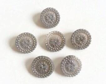 Czech glass buttons iridescent grey flower design 19 mm
