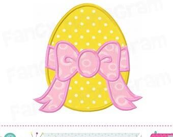 Egg applique,Easter applique,Egg design with bow,Egg embroidery,Easter,Girl applique,Easter applique,Birthday applique.-1715
