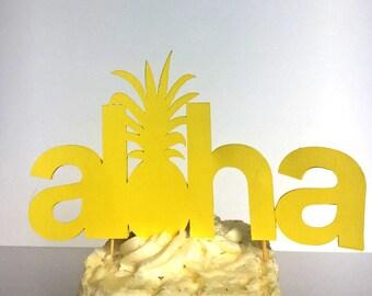 Tropical Hawaiian Theme Cake Topper / Aloha / Bachelorette Party / Bridal Shower / Birthday Party / Pineapple Decor / Aloha Beaches