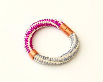 Rope Bracelet, Statement Bracelet, Rope Jewelry, Copper Bracelet, Modern Jewelry, Chunky Bracelet, Big And Bold Bracelet, Textile Jewelry
